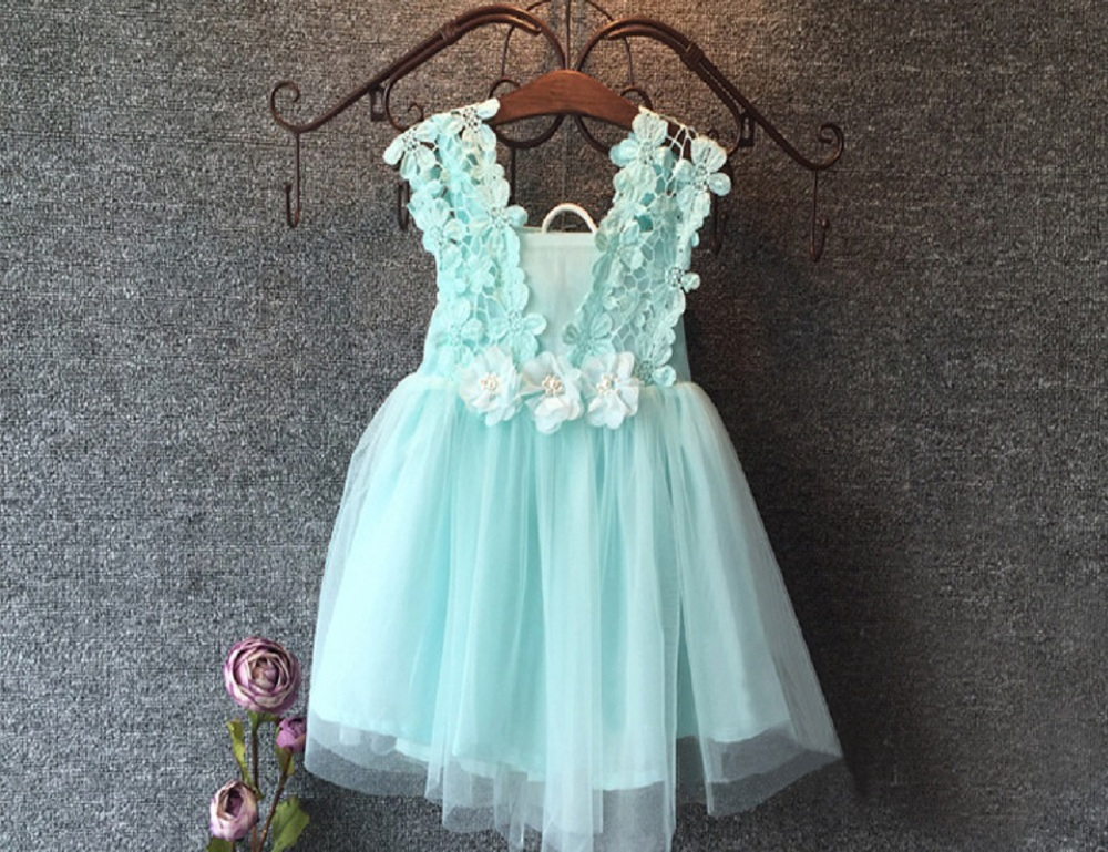 2016 XMAS Baby Girl Princess Party Pearl Lace Tulle Flower Gown font b Fancy b font