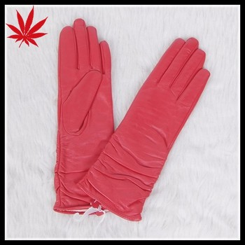bbe453b52c955 Ladies fashion red long leather gloves