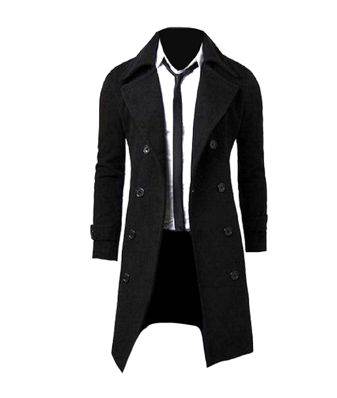 Abetteric Mens Long Wool-Blend Winter Warm Windbreaker Trenchcoat Jacket Coat