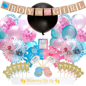 The Original Baby shower Gender Reveal Party Supplies, Boy or Girl Banner Foil and Confetti Balloons Photo Props Cupcake Topper