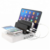 Multiple 5-port USB Charger Desktop Cell Phone Docking Station Wireless Charging Station for Multiple Phones