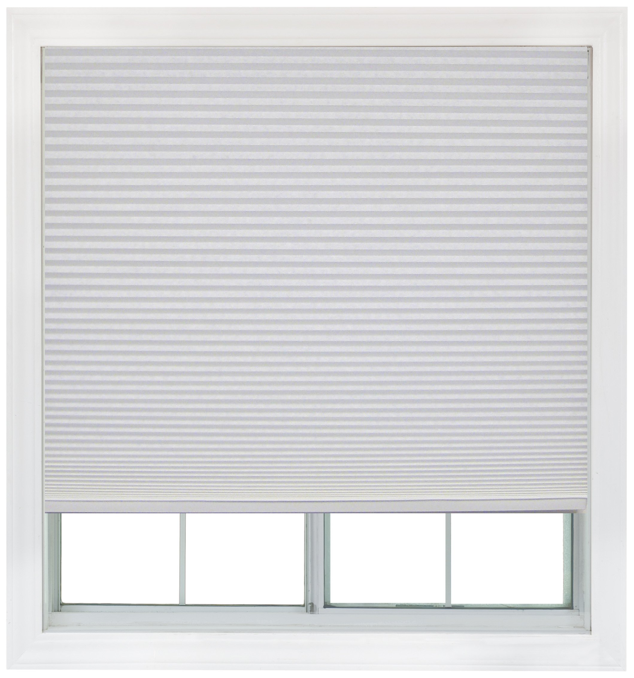 Easy Lift, 48-inch by 64-inch, Trim-at-Home (fits windows 28-inches to 48-inches wide) Cordless Honeycomb Cellular Shade, Light Filtering, White
