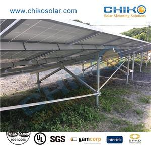 Home solar brackets installation for ground pv plant mounting