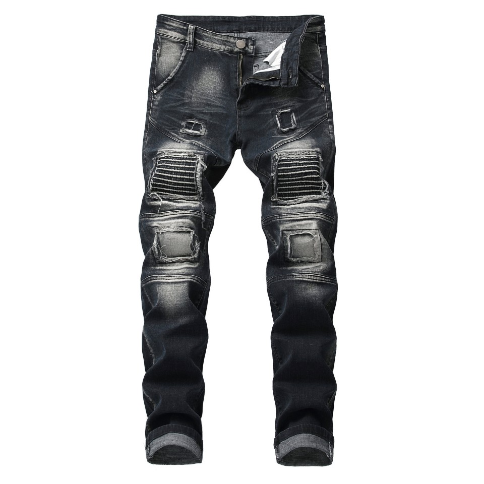 Heren Jeans Runway Slim Racer Biker Jeans Ripped Fashion Stretch Hiphop Skinny Jeans Voor Mannen Y11446