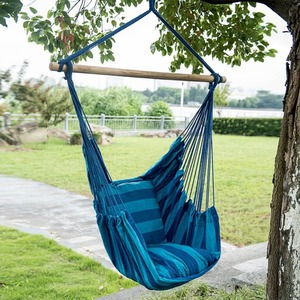 Outdoor and indoor portable hammock chair with a wooden pole