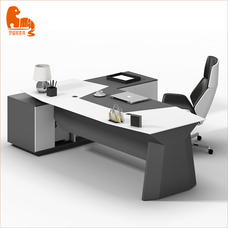 office furniture black L shaped table size mdf office computer table design