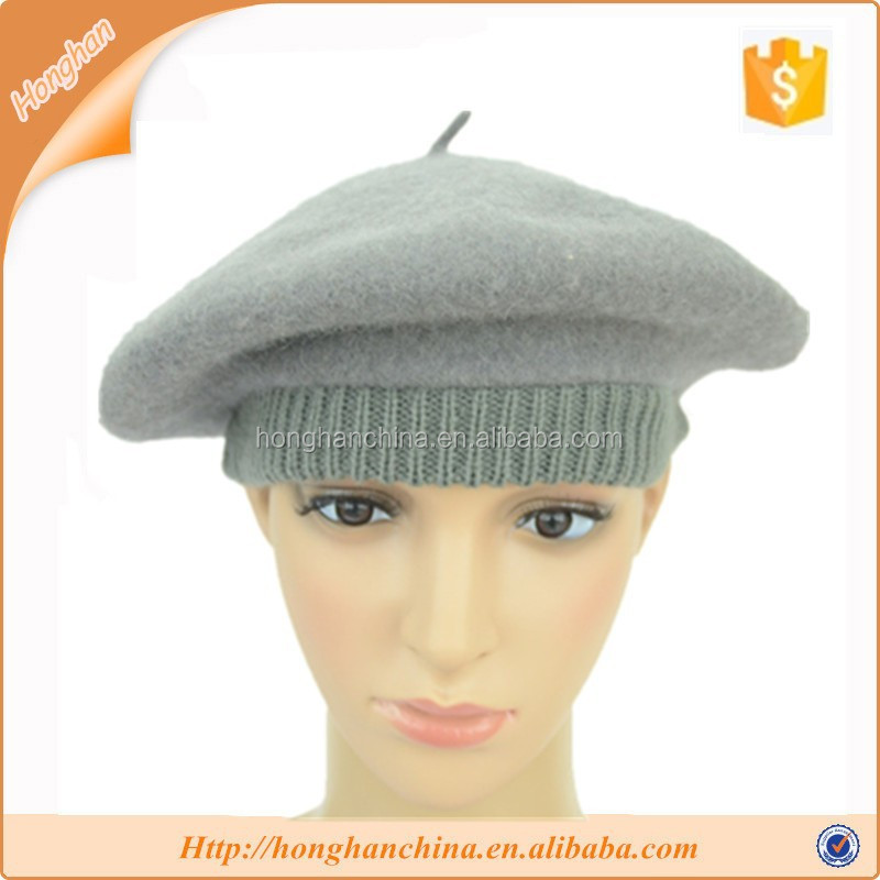 Light gray rabbit hair leisure beret