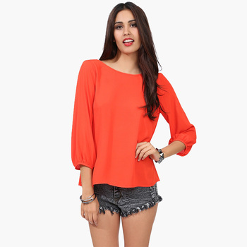 2019 New arrival crew neck long sleeve western style solid color loose women plus size sexy women chiffon blouse shirt
