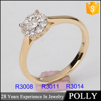 Fashion women's 9k 14k 18k gold wedding jewelry engagement diamond ring