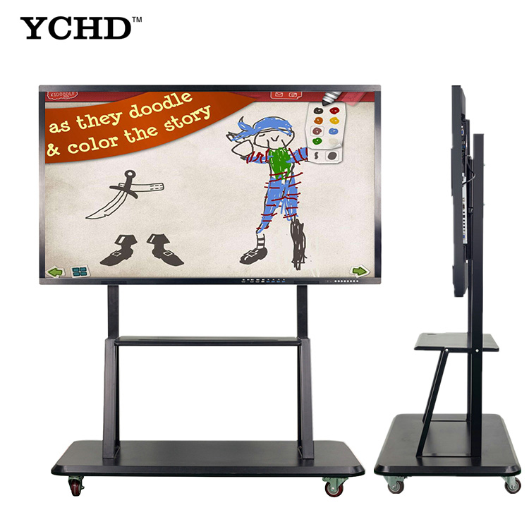 Beweegbare floor stand multi-media touch screen school onderwijs whiteboard met projector
