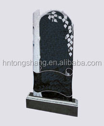 modern style tree carved black granite headstone