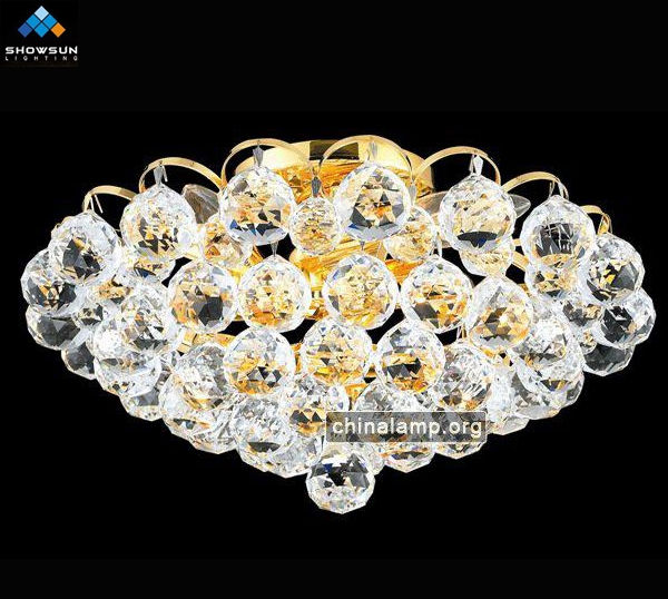 Delicate crystal bulbs close to ceiling light