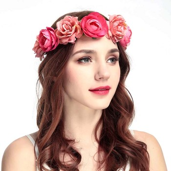 Wholesale custom new design bridal flower crown wedding flower hair tie for women