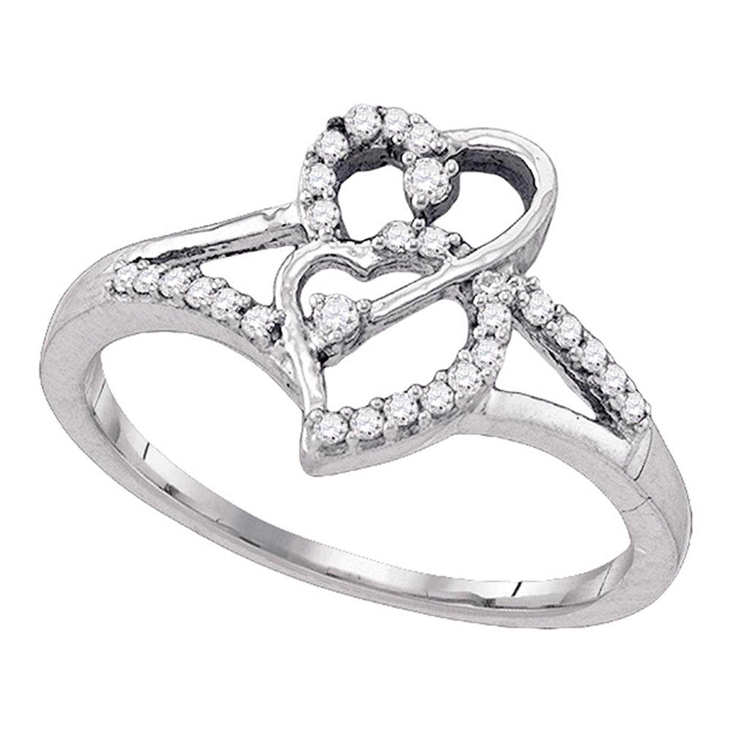KATARINA Diamond Bypass Cluster Ring in Sterling Silver 1//10 cttw, I-J, I1-I2