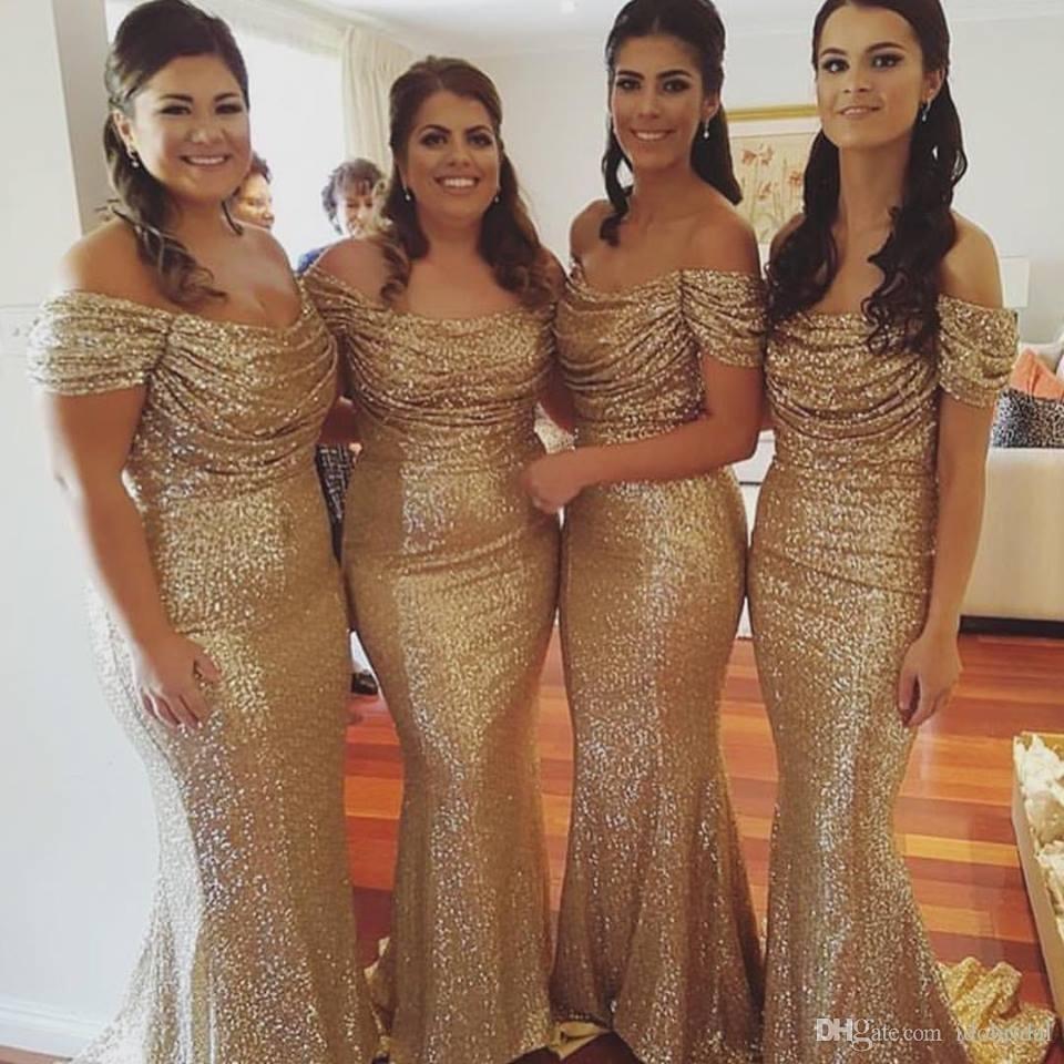 Sexy Meerjungfrau Gold Pailletten Brautjungfernkleider Lange  Boot-ausschnitt Formales Abendkleid 17 Lange Kleider Für Besondere  Anlässe - Buy