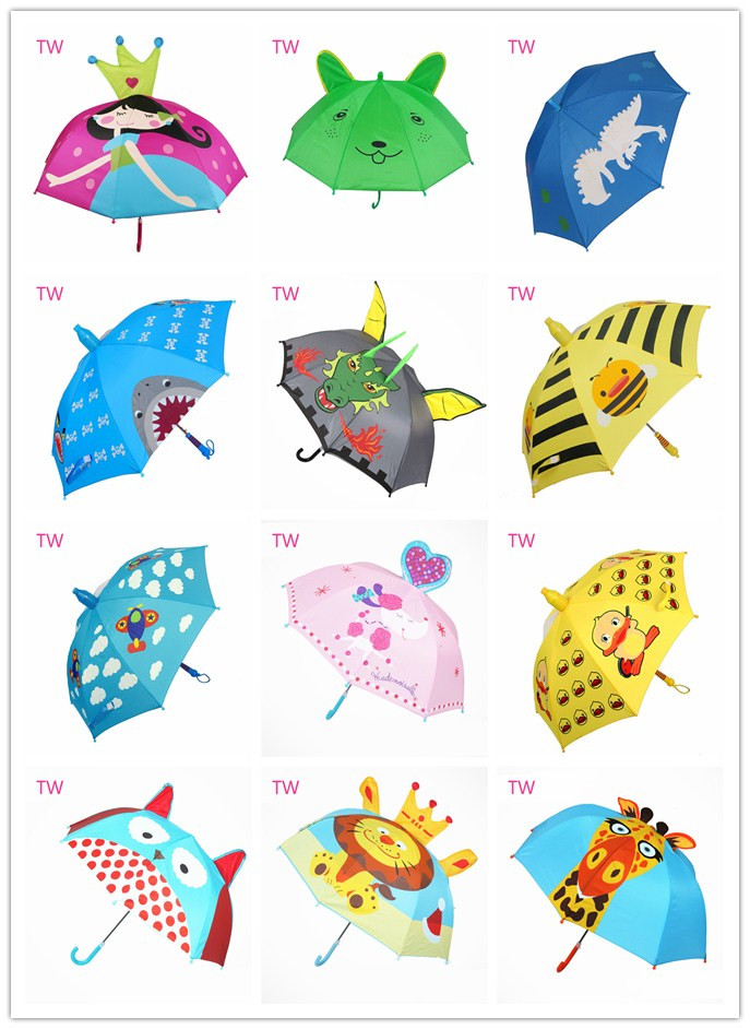 Factory price OEM custom made personalized kids new fashion plastic handle cartoon animal shaped umbrellas for girls 044