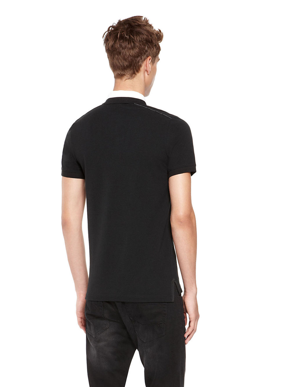 Black t shirt with white collar - Black Plain White Collar Wholesale Polo Shirt