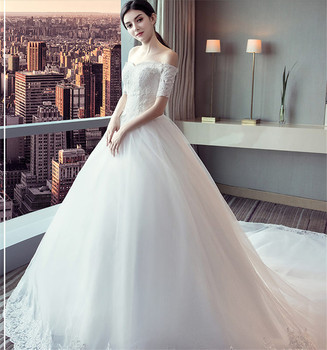2018 New Arrival Off-Shoulder Ball Gown Floor Length Wedding Dress