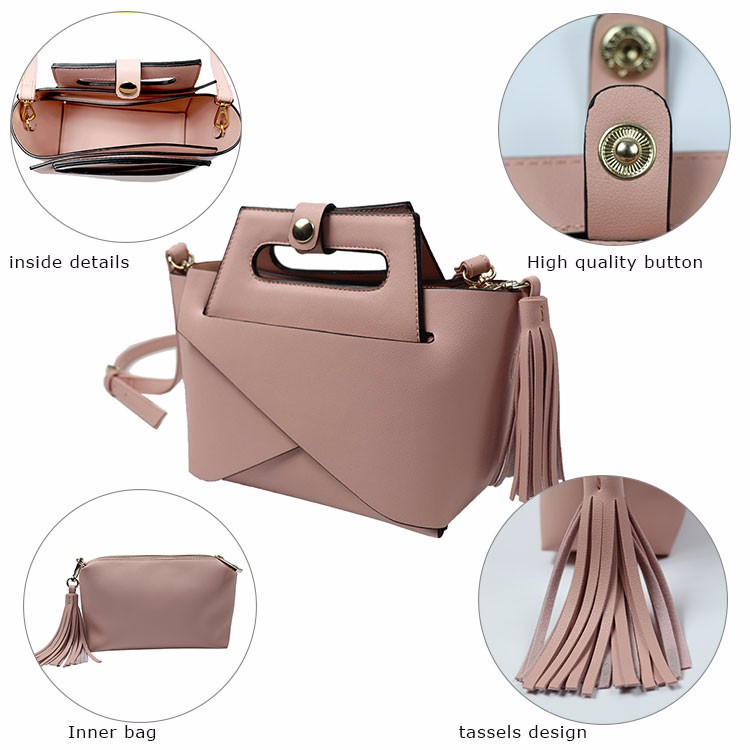 2019 Fashion newest fashion pink color 2 in 1 branded designer handbag womens bag ladies bags