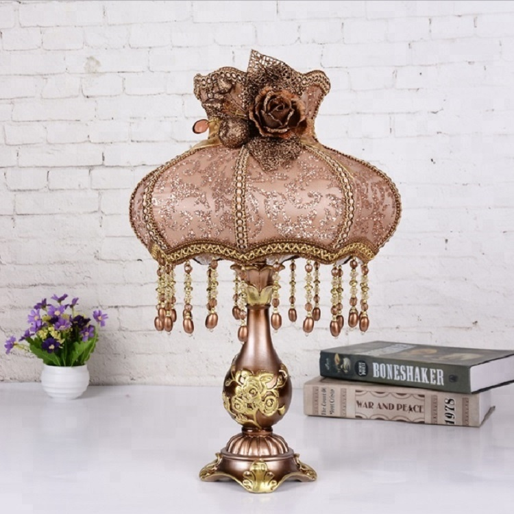 Antique luxury design table lamps fabric lace crystal beads table lamp