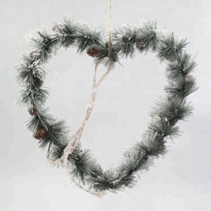 Beauty Greenery heart shaped artifical wreath Christmas hanging Decoration