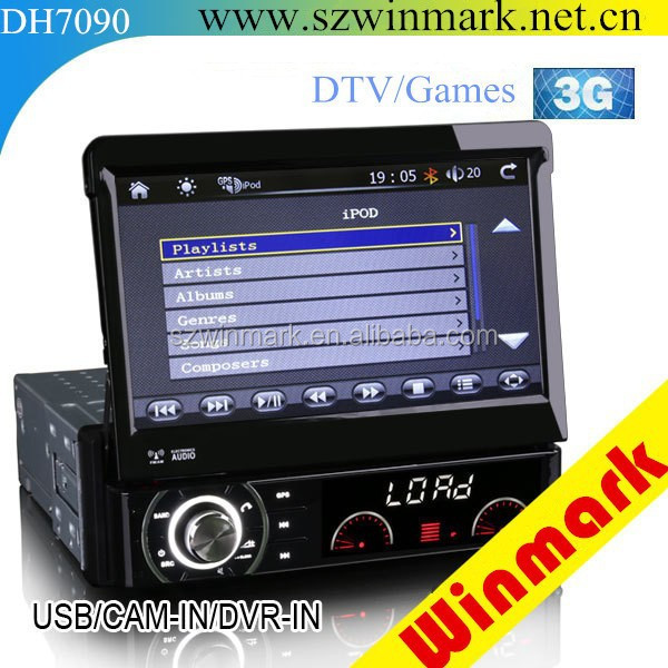 Factory price!! 1 din 7 inch car dvd universal with detachable panel car DVD one din dvd with 3D UI BT PIP IPOD DH7090