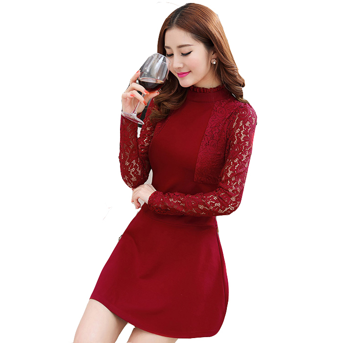 Red lace long dresses plus size women dresses for winter fashion feminine  long sleeves high necks female black lace dresses