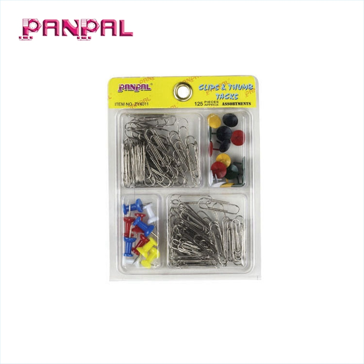 China factory supply 125 개 mini office 문구 set, includes 썸 압정, push 핀, paper clip