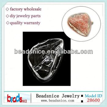 Beadsnice ID 28600 Zakka leaf shaped bubble jewelry findings for DIY ring 24X18mm hollow glass spheres