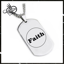 New Design stainless steel Laser Engraving Faith Tag Pendant