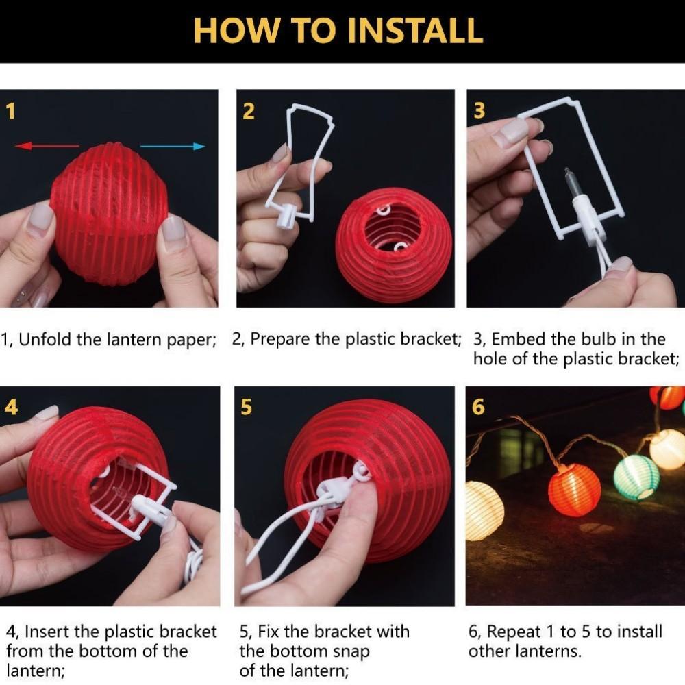 Lantern Solar Led Globe Outdoor String Lights