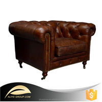 LS501-Chinese Chesterfield Leather Vintage Upholstered Sofa For Sale