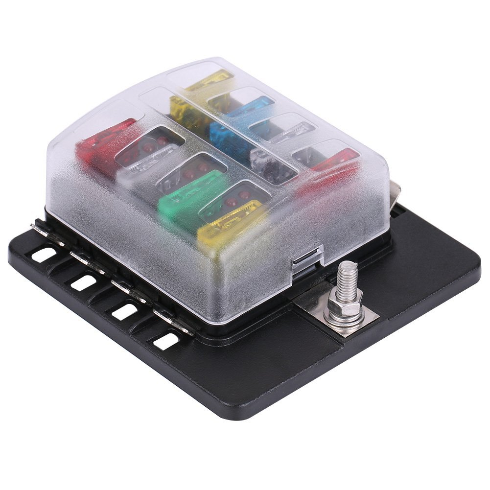Get Quotations · Qiilu 8 Way Circuit Blade Fuse Box Standard ATO ATC Block  Holder Kit with PC Terminal
