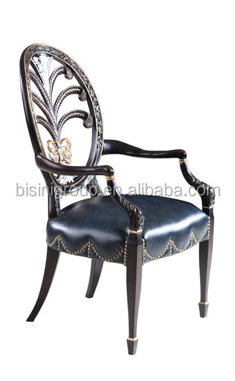 BF11 09192b Chippendale Arm Chair With Blue Leather For Round French Table