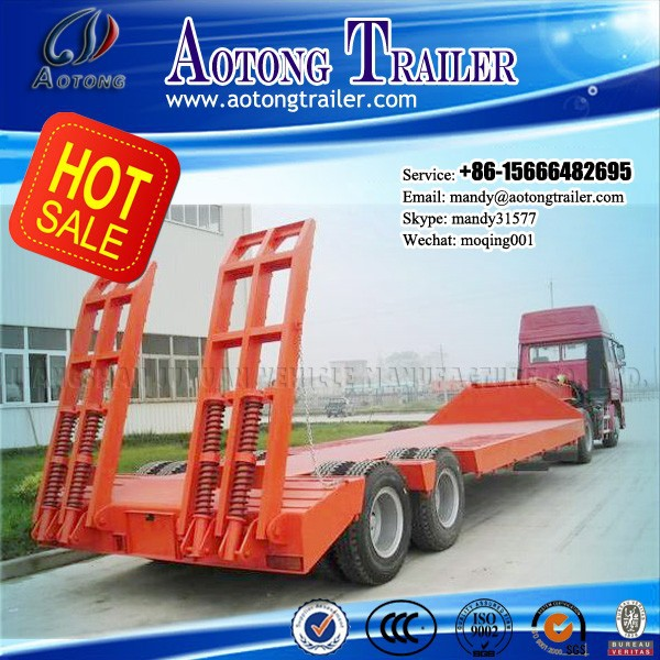 2 axles Gooseneck low bed/lowbed semi trailer with rear ladder and log