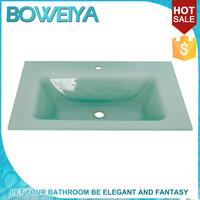 Factory Direct Milk white Bathroom Transparent Glass Vanity Tops