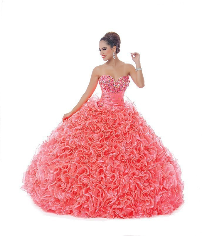 45ea7dab7b0 Get Quotations · Hot Sale Organza Ruffled Coral Quinceanera Dresses Ball  Gown Vestido De 15 Anos Vestidos De Quinceaneras