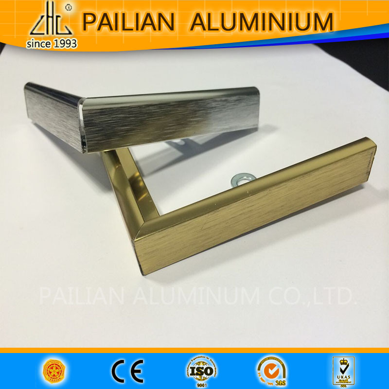 Gold/silver brushed aluminum extrusion profiles/OEM customized aluminum profile for picture frames to Singapore
