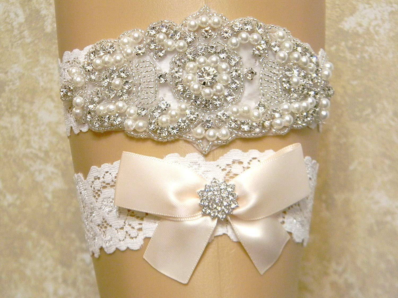 Light Champagne Wedding Garter Set, Bridal Garter Belt, Pearl and Crystal Rhinestone Keepsake and Toss Garter Set, Lace Garters, MORE COLORS