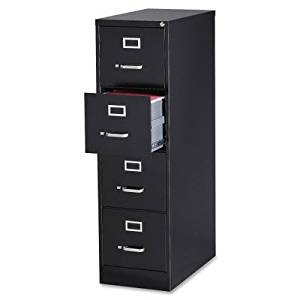Lorell Fortress Series 28.5 Letter-size Vertical Files - 15quot; x 28.5quot; x 52quot; - Steel, Aluminum - 4 x File Drawer(s) - Letter - Ball Bearing Glide, Label Holder, Locking Drawer, Heavy Duty - Black