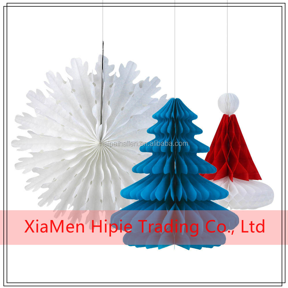 Mix and Match Christmas Decorations Paper Honeycomb Tree Snowflake Fan and Hat Honeycomb Decorations