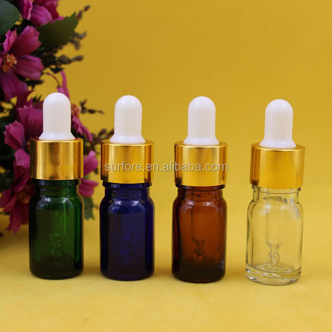 5ml small glass essential oil bottles with rubber dropper perfume bottles sample