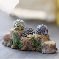 Cute Multicolor Mini Miniature Animal Small Hedgehog Micro Landscape Resin DIY Garden Ornaments Decoration Accessories