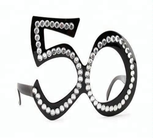 50th Black Birthday Novelty Fun Gift Funky Party Clear View Bling Age Glasses