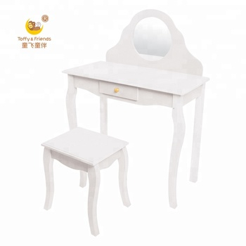 Kids White Wooden Dressing Table And Stool Set Vanity Table Buy
