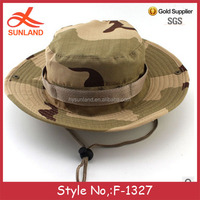 F-1327 new handsome wholesale custom military boonie hat with string bucket hats