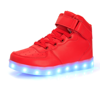 Kids girls High/Low Top LED Lighted USB Charger Sports Shoes Lace Up Sneaker
