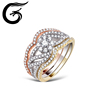Three colors plated 925 silver china cz ring custom silver ring