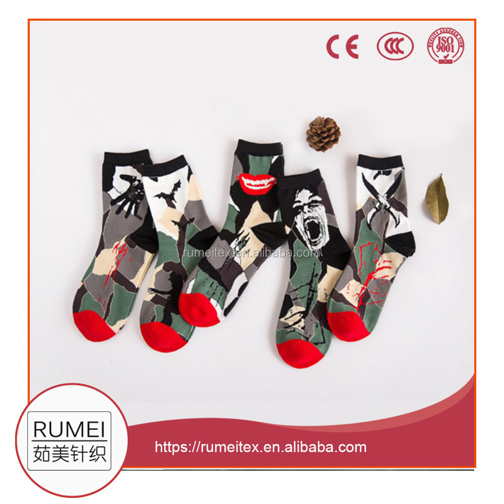 custom camouflage vampire pattern man cotton socks manufacture made in china