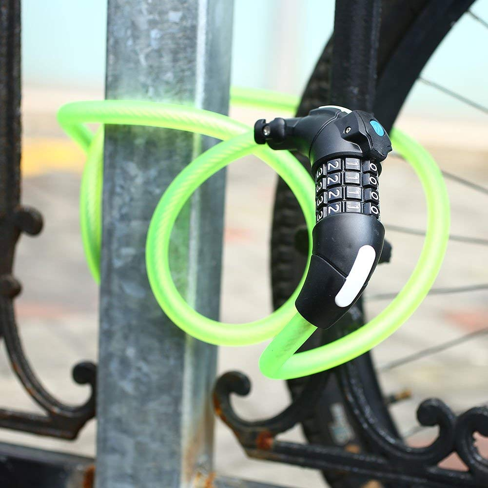 Goodjobb Bicycle Lock With Light Password Anti-theft Mountain Bike Lock With LED Lights, 4 Key Combination Security Code Lock 1.5M Lenth